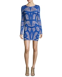 Herve Leger Long Sleeve Short Jacquard Dress Blue
