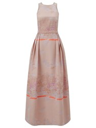 Ariella Couture Bevan Pink Jacquard Maxi Dress Pink