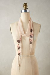 Anthropologie Embroidered Bloom Skinny Scarf Wine