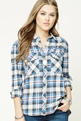 Forever 21 Distressed Plaid Flannel Shirt Pink Blue