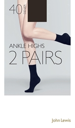 John Lewis 40 Denier Ankle High Socks Pack Of 2 Bark