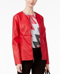 Alfani Faux Leather Peplum Jacket Only At Macy's New Red Amore