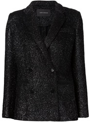 Cedric Charlier Cedric Charlier Double Breasted Tinsel Blazer Black