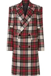 R 13 R13 Kendall Double Breasted Tartan Wool Coat Red