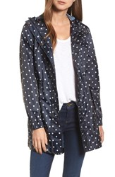 Joules Right As Rain Packable Print Hooded Raincoat Navy Spot