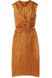 Sies Marjan Nicole Pleated Satin Midi Dress Orange