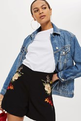 Topshop Embroidered Shorts Black