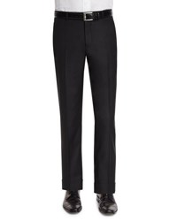 Neiman Marcus Classic Flat Front Wool Trousers Black