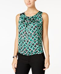Nine West Printed Pleat Neck Top Emerald Multi