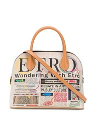 Etro Newspaper Embroidered Tote Bag 60