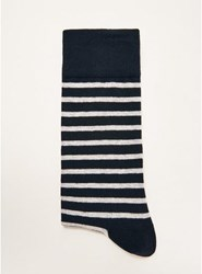 Selected Homme Navy And White Stripe Socks