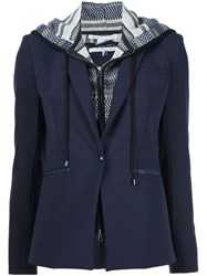 Veronica Beard Layered Hooded Blazer Blue