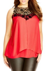Plus Size Women's City Chic 'Layered Motif' Lace Detail Tiered Chiffon Top Lolly