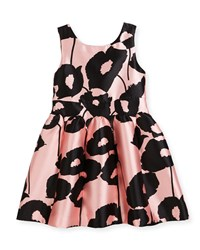 Milly Minis Poppy Floral Print Party Dress Pink Black