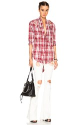 Unravel Tux Shirt In Red Checkered And Plaid
