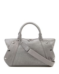 Akris Aimee Small Convertible Washed Calf Leather Satchel Bag Silver