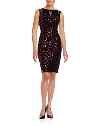 Jax Sequined Velvet Sheath Dress Red Black