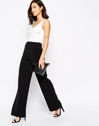Warehouse Mono Plunge Neck Wide Leg Jumpsuit Blackwhite