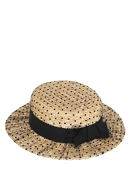 Kreisi Couture Polka Dot Tulle Covered Straw Hat Black