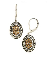 Lord And Taylor Sterling Silver Marcasite Drop Earrings Brown