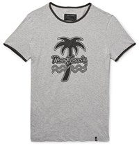 Marc Jacobs Slim Fit Printed Melange Cotton Jersey T Shirt Gray