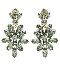 Oscar De La Renta Crystal Embellished Clip On Earrings Grey