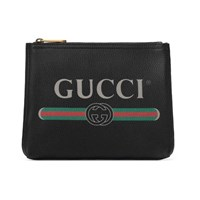 Gucci Print Leather Small Portfolio Black