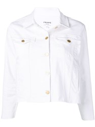Frame Distressed Cropped Jacket White
