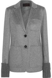 J.Crew Lois Ribbed Knit Trimmed Cashmere Blazer Gray