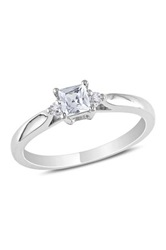 Sterling Silver Diamond And Princess Cut Created White Sapphire Fashion Ring Metallic