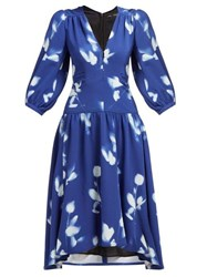 Proenza Schouler Rose Print V Neck Crepe Dress Blue Multi