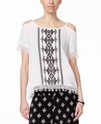 Inc International Concepts Embroidered Cold Shoulder Blouse Only At Macy's Bright White