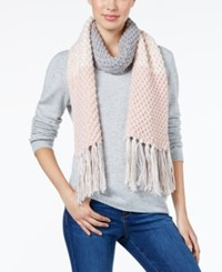 Rampage Colorblock Fringe Scarf Only At Macy's Rose Quartz Ivory