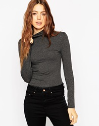 Asos The Polo Neck With Long Sleeves Charcoalmarl