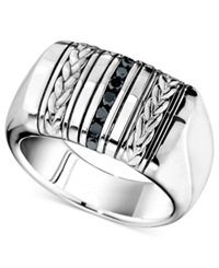 Macy's Men's Sterling Silver Ring Black Diamond Braided Ring 1 4 Ct. T.W.