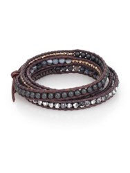 Chan Luu Grey Banded Agate Hematite Crystal And Leather Multi Row Beaded Wrap Bracelet Brown Grey