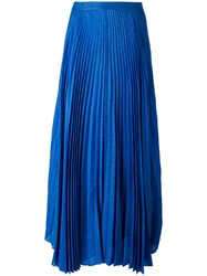 Alice Olivia Pleated Maxi Skirt Blue