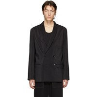 Christophe Lemaire Black Dry Silk Double Breasted Blazer