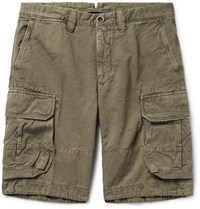 Incotex Washed Cotton And Linen Blend Cargo Shorts Green