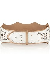Alaia Scalloped Leather Waist Belt White