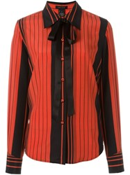 Marc Jacobs Striped Pussy Bow Shirt Red