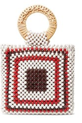 Ulla Johnson Keya Mini Beaded And Wicker Tote White