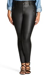 City Chic Plus Size Women's Wet Look Moto Stretch Skinny Jeans