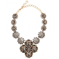Oscar De La Renta Radial Swarovski Crystal Necklace Black Diamond
