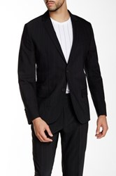 Kenneth Cole Black Pinstripe Two Button Notch Lapel Blazer