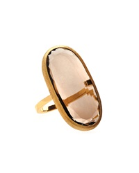 Nanis 18K Gold Smoky Quartz Oval Ring Size 7