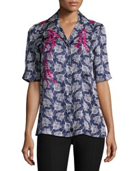 Cinq A Sept Dani Embroidered Floral Half Sleeve Shirt Blue Multicolor