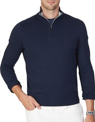 Nautica Big And Tall Quarter Zip Long Sleeve Cotton Blend Sweater Navy