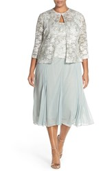 Plus Size Women's Alex Evenings Tea Length Lace And Chiffon Dress With Jacket