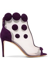 Nicholas Kirkwood Quantum Embellished Mesh And Suede Ankle Boots Dark Purple